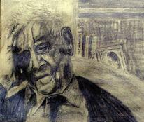 Alter mann, Bleistiftzeichnung, Grafit, Malerei