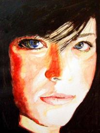 Malerei, Portrait, Augen, Aquarellmalerei