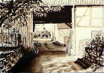 Schatten, Monochrom, Bauernhof, Lage