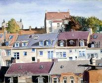 Haus, Stadt, Wohnung, Aquarellmalerei