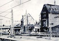 Bahnhof, Aquarellmalerei, Lage, Provinz