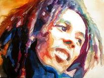 Mann, Rasta, Aquarellmalerei, Portrait