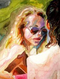 Menschen, Ausdruck, Aquarellmalerei, Frau