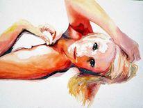 Aquarellmalerei, Portrait, Reiz, Frau