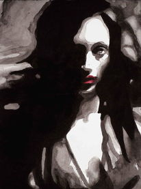 Frau, Mund, Portrait, Düster