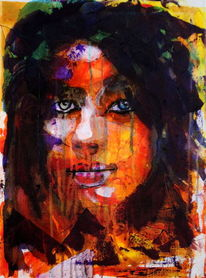 Menschen, Blick, Frau, Farben