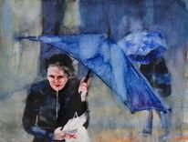 Blau, Wetter, Frau, Schirm