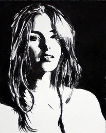 Frau, Ausdruck, Portrait, Schwarz