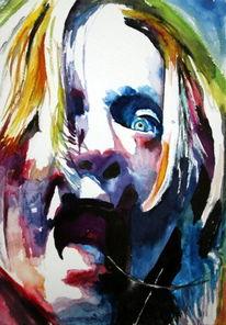 Frau, Ausdruck, Schrei, Farben