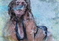 Ausdruck, Frau, Blick, Strand