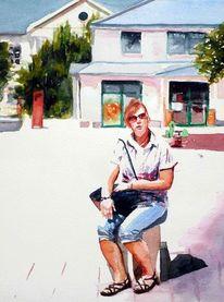 Sonne, Haus, Aquarellmalerei, Frau