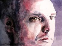 Mann, Portrait, Blick, Aquarellmalerei