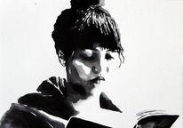 Buch, Menschen, Monochrom, Frau