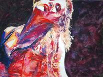 Frau, Rot, Tanz, Aquarellmalerei