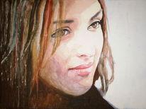 Aquarellmalerei, Portrait, Frau, Ausdruck