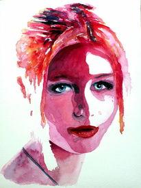 Farben, Portrait, Frau, Pink