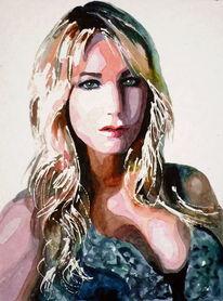 Ausdruck, Aquarellmalerei, Haare, Blick