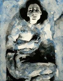 Aquarellmalerei, Frau, Blau, Grau