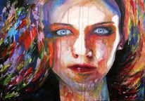 Haare, Blick, Portrait, Farben