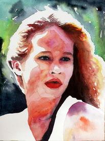 Mädchen, Aquarellmalerei, Blick, Portrait