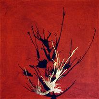 Blattmetall, Rot schwarz, Gold, Acrylmalerei