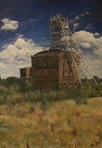 Landschaft, Gebäude, Industrie, Ölmalerei