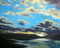 Landschaft, Wolken, Acrylmalerei, Abend