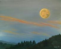 Mond, Landschaft, Wolken, Abend