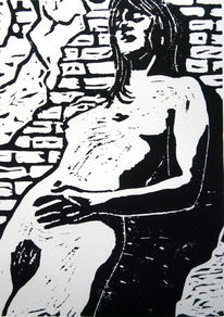 Grafik, Frau, Holzschnitt, Schwarz weiß