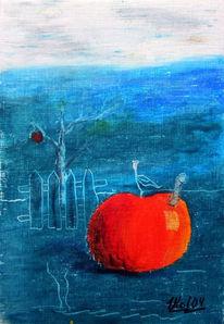 Pastellmalerei, Wurm, Stillleben, Apfel