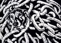 Tiere, Kette, Tierquälerei, Linolschnitt