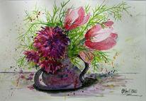 Blumen, Vase, Zeichnungen, Tiere