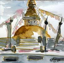 Bothnat, Aquarellmalerei, Stupa, Buddah