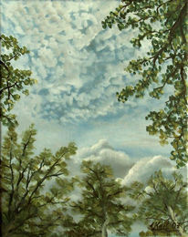 Wolken, Ölmalerei, Landschaft, Zirrus