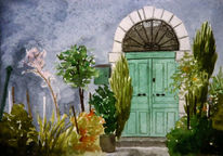 Garten, Pflanzen, Tür, Aquarellmalerei