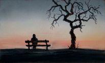 Stimmung, Bank, Baum, Abend