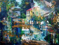 Blau, Realismus, Haus, Grün