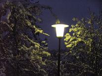 Nacht, Schnee, Laterne, Landschaft