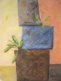 Beton gefäß pflanze, Malerei, Beton, Leben
