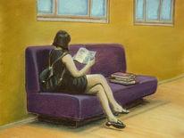 Portrait, Frau, Lesen, Bücher