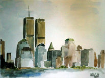 Manhatten, Malerei, New york, Aquarellmalerei