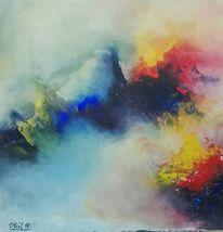 Gelb, Berge, Blau, Vulkan