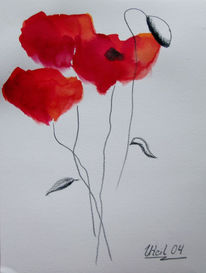 Stillleben, Blumen, Aquarellmalerei, Kohlezeichnung
