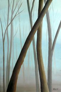 Landschaft, Malerei, Nebel, Wald