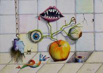 Labor, Grusel, Apfel, Augen