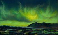 Pastellmalerei, Licht, Nordlicht, Grün