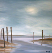 Landschaft, Himmel, Malerei, Wasser