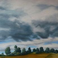 Baum, Wolken, Landschaft, Ölmalerei