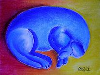 Pastellmalerei, Tiere, Dackel, Hund