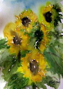 Blumen, Herbst, Aquarellmalerei, Sonnenblumen